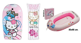 Barca, tabla de surf y colchoneta Hello Kitty