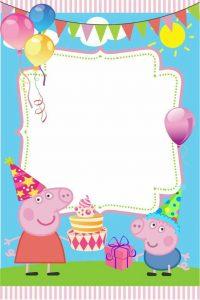 Invitación de cumpleaños de Peppa Pig gratis para imprimir