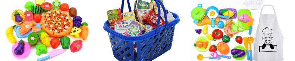 Alimentos de juguete para cocinitas, carritos de la compra,...